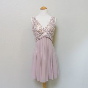 Blush Pink Party Dress - Sequin Cocktail Dress - S